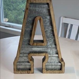 Hobby Lobby Accents - Rustic wood and tin Letter A